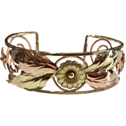 Art Deco Three Tone Gold Filled Floral Cuff Bracelet