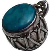 Vintage Sterling Silver & Turquoise Drum Charm Pendant