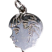 Vintage Sterling Silver Boys Head Charm