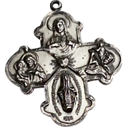 Vintage Creed  Sterling Silver Catholic Four Way Medal