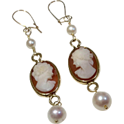 Vintage Gold Filled Cameo Pearl Dangle Earrings