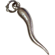 Vintage Sterling Silver 3D Italian Horn Charm