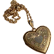Vintage Gold Filled Heart Double Photo Locket & Chain