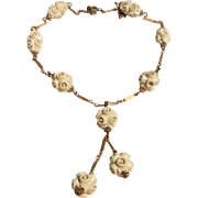 Vintage Brass & Hand Carved Bead Celluloid Necklace