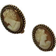 Vintage Gold Filled Cameo Screw Back Earrings