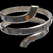 Vintage 1930'S Metal Baltic Amber Slave Bracelet