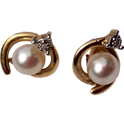 Vintage 10 K Gold Cultured Pearl Earrings
