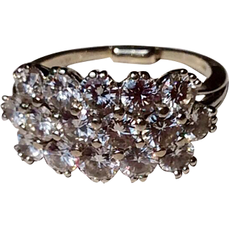 Wonderful Vintage 14 K White Gold 3.13 Carat Triple Row Diamond Ring