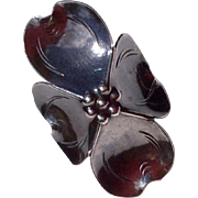 Vintage Dogwood Blossom Ring By Stuart Nye Sterling Silver Circa 1970's