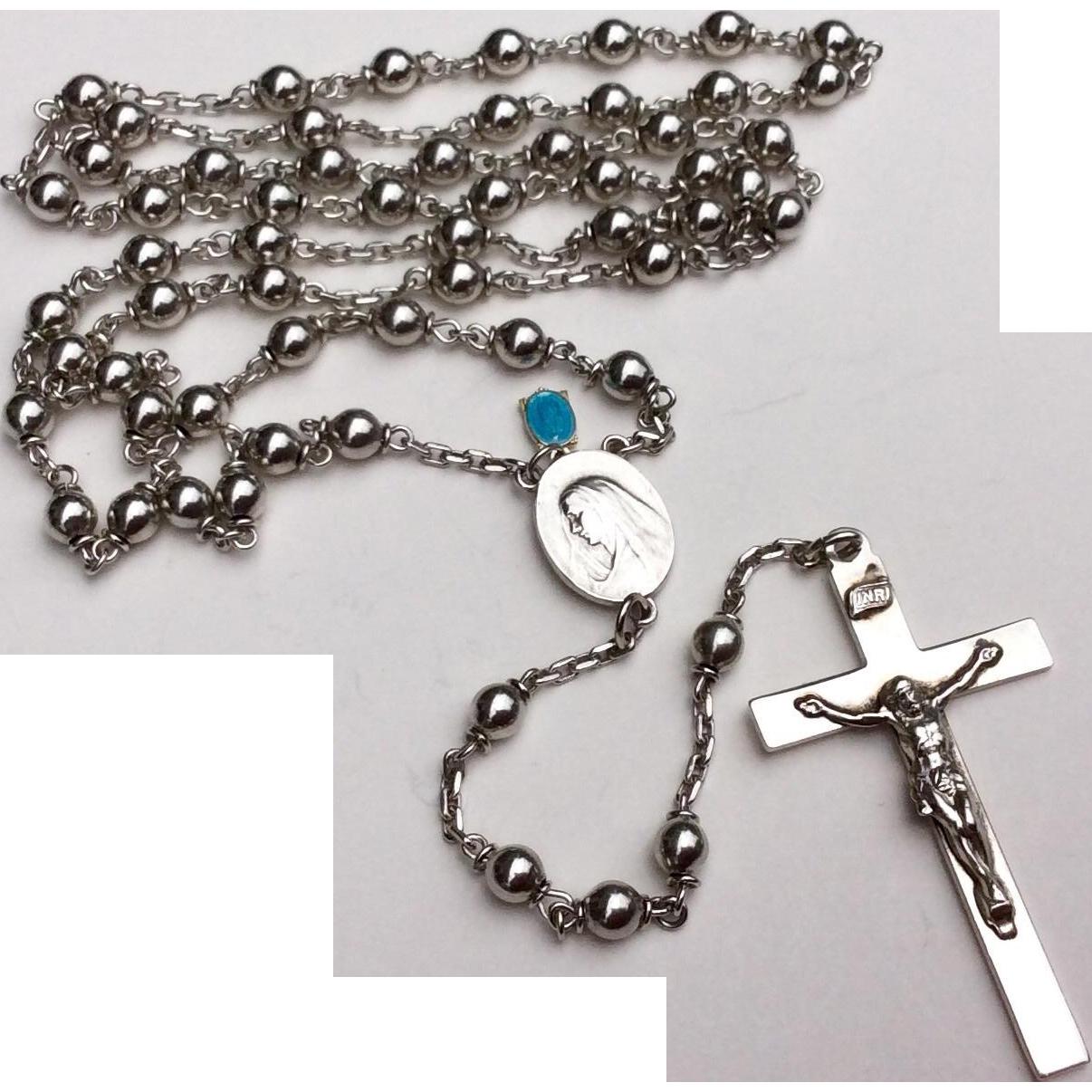 Vintage Sterling Silver Catholic Religion Rosary