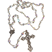 Wonderful Vintage Knights Of Columbus Faceted Aurora AB Crystal Bead Rosary