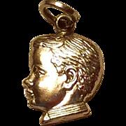 Vintage Sterling Silver Boys Head Charm