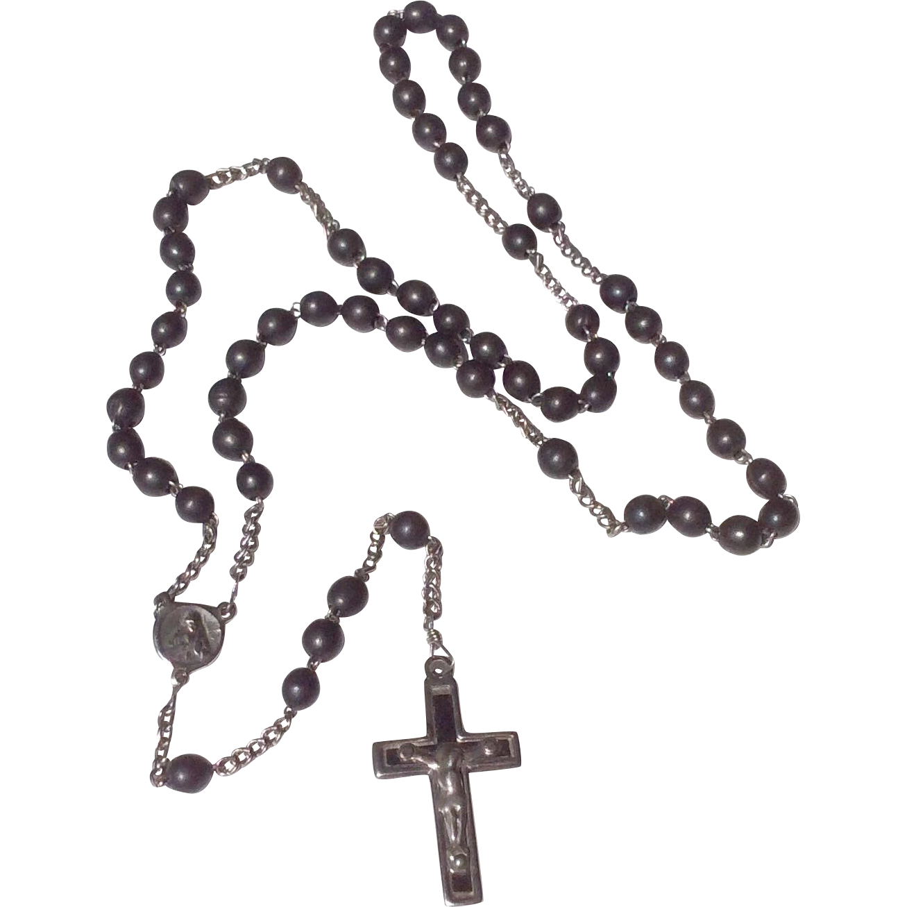 Early French Black Bead Rosary