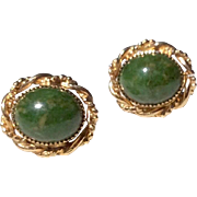 Vintage Gold Filled Natural Nephrite Jade Cabochon Earrings