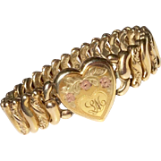 Victorian Tri-Color Heart Expansion Stretch Gold Filled Bracelet
