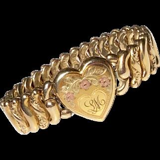 Victorian Tri-Color Heart Expansion Stretch Gold Filled Bracelet