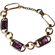 12 K Gold Filled Faceted Amethyst Glass Bracelet