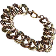 1940'S Large Retro  12 K Gold Filled Two Tone Triple Link Bracelet