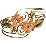 Retro  Rose & Yellow Gold Filled Floral  Cuff Bracelet