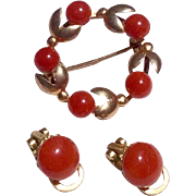 Beautiful Mediterranean Red Coral Circle Brooch & Earrings