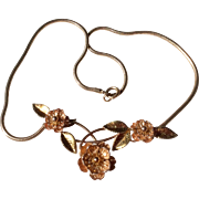 Vintage 1930'S Krementz Two - Tone Gold Overlay Gilt Flower Necklace