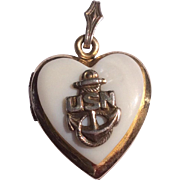 WW2 USN US Navy Gold Filled Mother Of Pearl Heart Shaped Locket Pendant