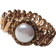 Vintage Gold Filled Faux Pearl Expansion Stretch Bracelet
