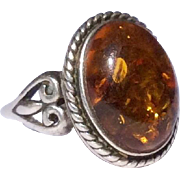 Vintage Sterling Silver Large Honey Amber Cabachon Ring