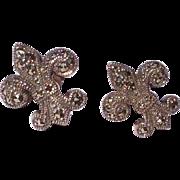 Vintage Sterling Silver & Marcasite Fleur d Lis Earrings
