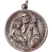 Vintage Silver Tone Catholic Medal Pious Union Of St, Joseph