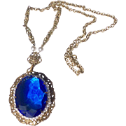 Vintage West German Filigree Sapphire Blue Stone & Faux Seed Pearl Necklace Pendant