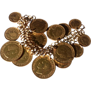 Vintage Triple Link Silver Gilt Bracelet With Large Gold Wash Coins