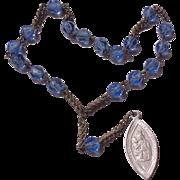 Vintage French  Blue Crystal Chaplet To Saint Anne de Breaupre