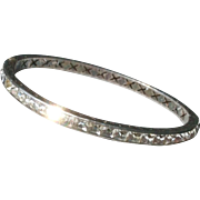 Vintage Art Deco Sterling Silver Paste Channel Set Bangle Bracelet
