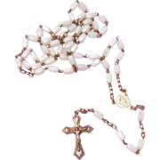 19th Century White Art Glass Bead Rosary With Aluminum Center