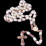 19th Century Italian  White Art Glass Bead Rosary With Aluminum Center