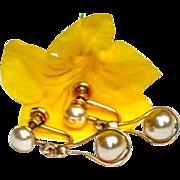 Vintage 12 K Gold Filled Dangle Faux  Pearl Earrings