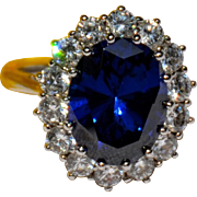 Vintage Impressive Sterling Silver 6 Ct. Faux  Sapphire & CZ Ring