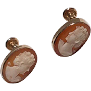 Vintage Van Dell 12 K Gold Filled Shell Cameo Earrings