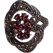 Vintage Sterling Silver Faux Garnet & Marcasite Ring