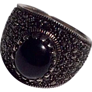 Vintage Sterling Silver Black Onyx & Marcasite Ring