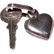 Vintage Sterling Silver Key To My Heart Charm