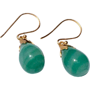 Vintage Faux Jade Pear Shaped Dangle Earrings