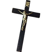 Early Vintage Black Wooden Crucifix