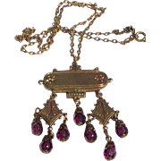 West German Brass & Amethyst Glass Pendant Necklace