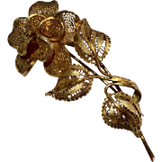 Vintage Gilt Silver Filigree Rose Brooch