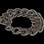 Vintage Silver tone Metal Curb Link Bracelet