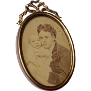 Victorian Brass Oval Photo Frame