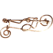 Vintage 1940's Gold Filled Wire Initial Pin Brooch