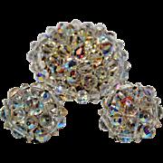Vintage AB Crystal Earrings  & Brooch